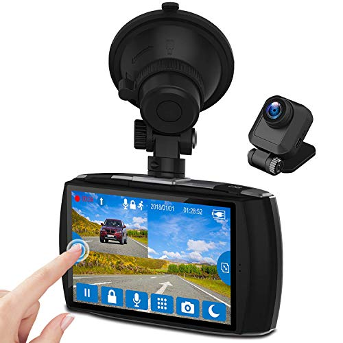 """Z-Edge Dual Dash Cam 4.0"""" Touch Screen Front and Rear Dash Cam FHD 1080P with Night Mode, 32GB Card Included,155 Degree Wide Angle, WDR, G-Sensor, Loop Recording, Support 256GB Max"""