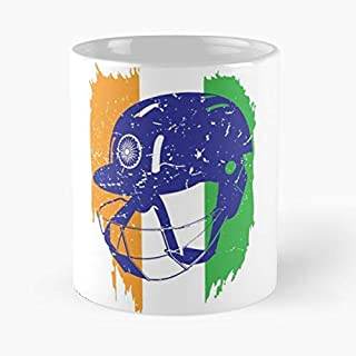 Indian Cricket Team Helmet T-shirt Fans Jersey Classic Mug - The Funny Coffee Mugs For Halloween, Holiday, Christmas Party Decoration 11 Ounce White Efixstore.