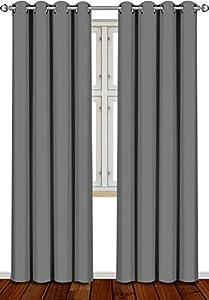 Utopia Bedding Cortina Opaca - Cortinas Aislantes Térmicas - Juego de 2 Paneles con Ojales - (140 x 260 cm, Gris)