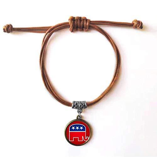 Diythinker des ÉTats – Unidos de américa el emblema del Partido Republicano del elefante pulsera de cuero, doble pulsera para pareja