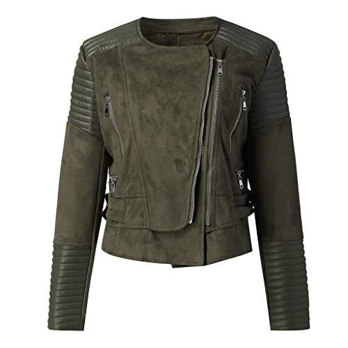 JXQ-N Damen Wintermantel Revers Bikerjacke Pilotenjacke Lederjacke Falten Langarm Coat mit Schrägem Reißverschluss Übergangsjacken