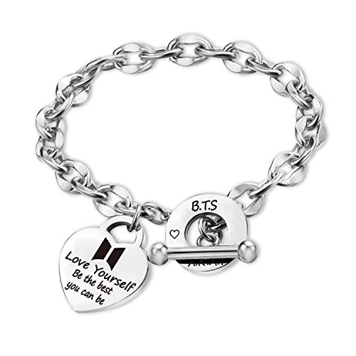 Kpop BTS Bangtan Boys Bracelet to Love Yourself Army Be The Best Charm Bracelet Inspirational Gift BTS Lover Fans Jewelry Gift for BTS Fans Girl Women Sister Wife Daughter(BR-Be The Best)