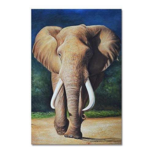 Ölgemälde des wilden Tieres des afrikanischen Elefanten auf Leinwand. Skandinavische Plakate und Drucke. Kunstbilder an der Wand. Rahmenlose dekorative Malerei für Wohnzimmer A39 60x90cm