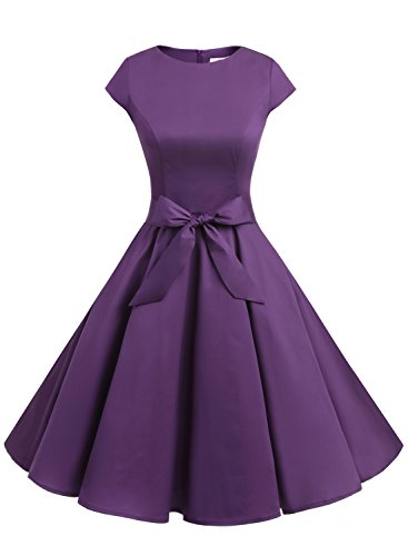 Dressystar DS1956 Women Vintage 1950s Retro Rockabilly Prom Dresses Cap-Sleeve XL Purple