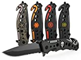 Swiss Safe 3-in-1 Navy Seal Skull Tactical Knife for Search & Rescue with Glass Breaker, Seatbelt Cutter and Steel Serrated Blade