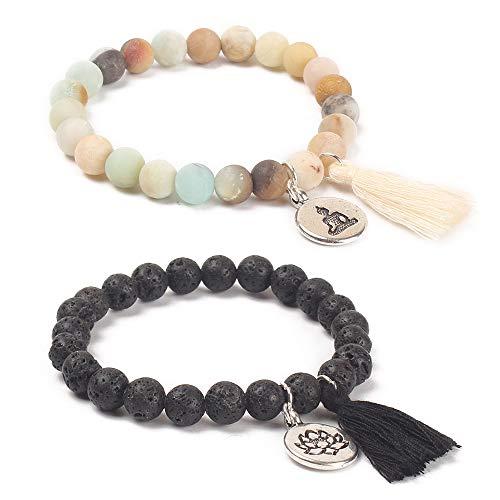 BALIBALI Handmade Mala Beads Bracelet Natural Stone Beaded Meditation Lotus Tibetan Bracelet Tassel Bracelet Japa Yoga Rosary Prayer Charm Lava Rock Oil Diffuser Bracelets