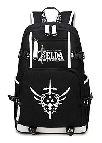 WANHONGYUE The Legend of Zelda Gioco Laptop Backpack Borsa da Scuola Zaino Studente Zaini Casual Viaggio Nero-2