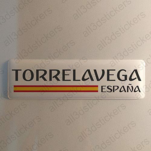 Pegatina Torrelavega España Resina, Pegatina Relieve 3D Bandera Torrelavega España 120x30mm Adhesivo Vinilo