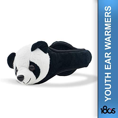 180s Plush Panda Ohrenschützer Ohrenwärmer Ohrenschutz Kinder - mit Futter Herbst-Winter - One Size schwarz