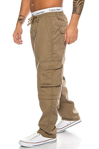 Benk Herren Cargo Hose Cargo Pants Unifarbe Arbeitshose Cargohose Cargopants Dehnbund 01 (Camel, XXL)