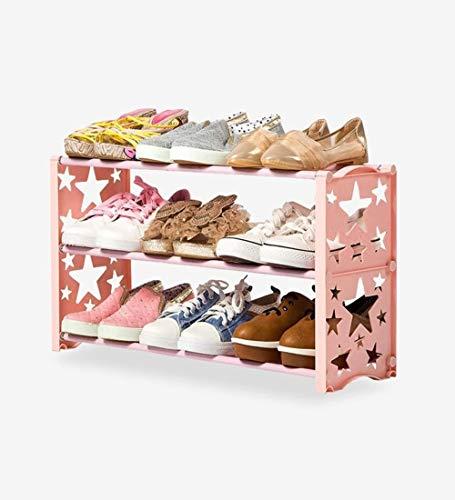 Wddwarmhome Estante de Zapatos de 3 Niveles, Impermeable a Prueba de Humedad a Prueba de Agua a Prueba de oxidación elegantemente Moderna, fácil, 60 x 19 x 35cm (Color : Pink)