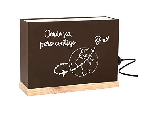 60watios.com caja luminosa letras cajas de metal y madera natural, cuadros de led para regalos originales mujer, decoracion, cumpleaños mensajes personalizados (donde sea, pero contigo)