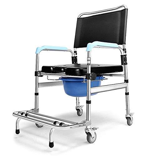 AJH Duschstuhl mit gepolstertem Sitz, Rückenlehne, Armlehnen, 3-in-1-Rollstuhl für Krankentransporte, Nachttisch für Patienten mit Alten Patienten, abschließbare Rollen, Rolls