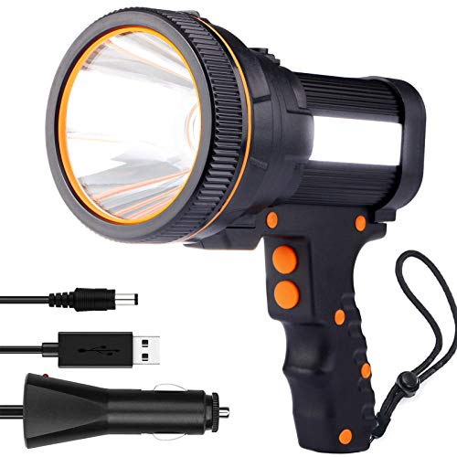 LED Handscheinwerfer Wiederaufladbar, Super Hell 7000 Lumen Led Taschenlampe, 5 Modi Wasserdicht Led-taschenlampen für Outdoor, Abenteuer, Wandern, Notfall, mit Akku(Schwarz)