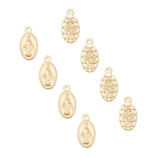 UNICRAFTALE 10 Uds Óvalo Dorado con Encantos de la Virgen María Colgantes de Medalla Milagrosa de Acero Inoxidable Encantos de Agujero de 0.8 mm