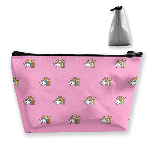 Rainbow Cloud - Bolsas de maquillaje para mujer, multifunción, bolsa portátil de mano, capacidad de almacenamiento con cremallera (trapezoidal)