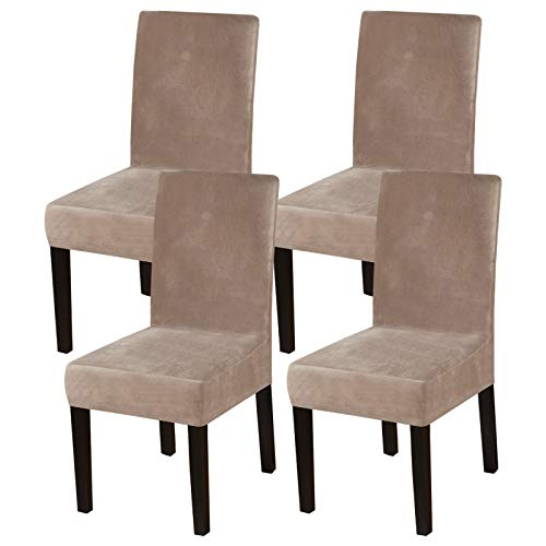 DiningChairCoversStretch Chair Covers for Dining Room Velvet Chair Protector Covers Slipcover Parson Chair Covers Set of 4 forHotel Ceremony, Thick Soft Modern Style, Taupe, 4