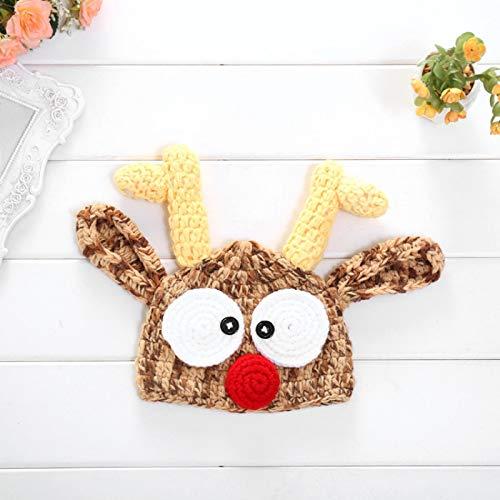 dingtian Sombrero de Navidad Sombrero de Bebé Adorable Reno Mano Crochet Beanie Recién Nacido Chica Tejer Sombreros Foto Props Capó de punto Santa 37-39cm B