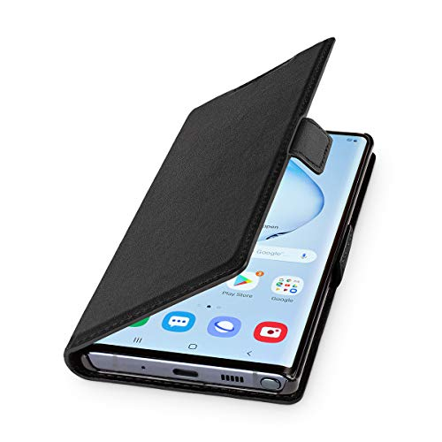 WIIUKA Echt Ledertasche - TRAVEL - Hülle für Samsung Galaxy Note 10, mit Kartenfach, extra Dünn, Tasche Schwarz, Premium Leder, kompatibel mit Samsung Galaxy Note 10