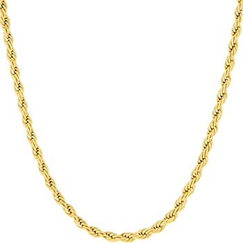 LIFETIME JEWELRY 3mm Rope Chain Necklace 24k Real Gold Plated for Women Men Teen  Gold 20