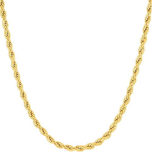 Lifetime Jewelry 3mm Rope Chain Necklace 24k Real Gold Plated for Women Men Teen (Gold, 18)