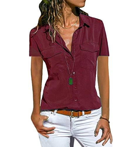 Damen Bluse Langarm Revers Kragen Hemdbluse V Ausschnitt Langarmshirts Blusen Einfarbig Business mit Knopfleiste Hemd Oberteile Elegant Herbst und Mode Sommer T-Shirt Top (S, WD2)