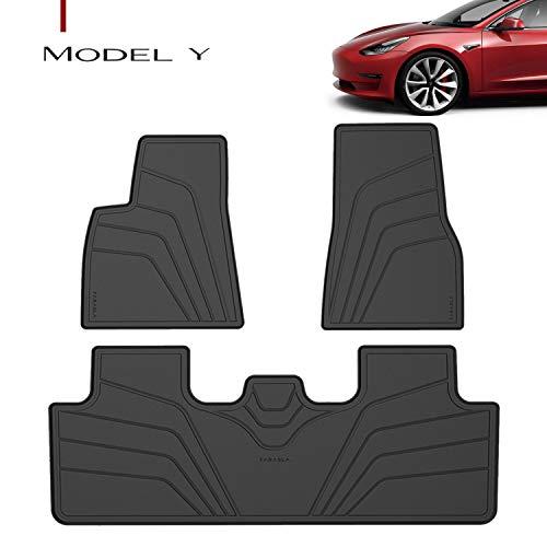 Farasla All-Weather Floor Mats for Tesla Model Y 2020 2021, Easy to Clean (Set of 3)