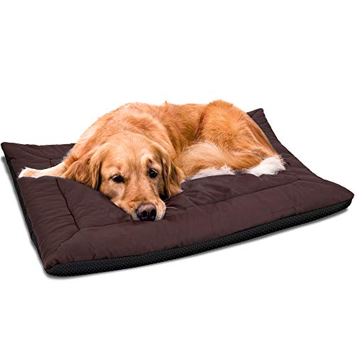 Paws & Pals 37 x 25 Inches Self Warming Pet Bed Cushion Pad Dog Cat Cage Kennel Crate Soft Cozy Mat - Brown
