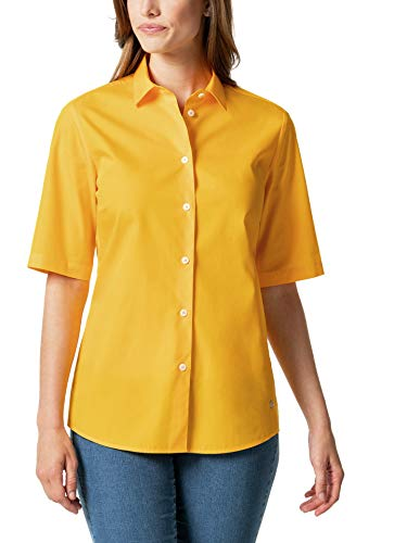 Walbusch Damen Hemd Bügelfreibluse Everyday einfarbig Uni Safran 42 - Langarm