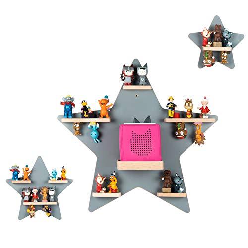 BOARTI Kinder Regal Kollektion Sterne in Grau - geeignet für die Toniebox und ca. 57 Tonies - zum Spielen und Sammeln