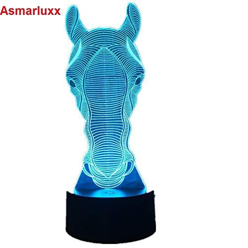 Pferd Gesicht Urlaub Auto Spielzeug Gadget Nachtlicht 3D LED Tischlampe Kinder Geburtstagsgeschenk Nachtzimmer Dekoration