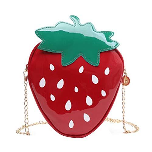 Fruit Cartoon Cute Strawberry Bag Shoulder Messenger Bag Bag Child Parent Package Portable Waterproof-red BCVBFGCXVB