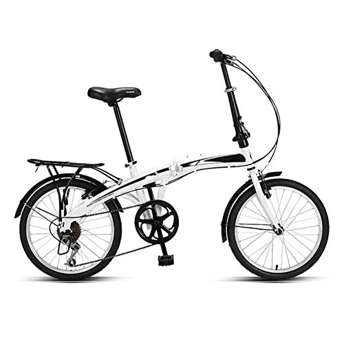 Folding Bicycle, Professional 7 Speed Gears - Women's Light Work Adult Adult Ultra Light Variable Speed Portable Adult Small Student Male Bicycle Folding Carrier Bicycle Bike 20 Inch Red/white
