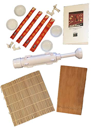 16 Piece Sushi Making Kit For Sushi Party For 4 Includes Sushi Bazooka Chopsticks Rolling Mat Bamboo Serving Tray Tips Recipes and more!