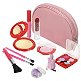 DRESS 2 PLAY Pretend Makeup Kit, 11 Piece Set Leather Look Bag and Mirror