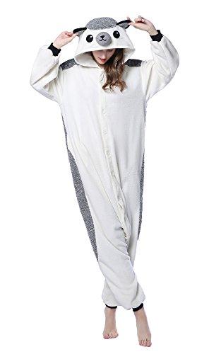 Newcosplay - Pijama de animal para adulto, unisex, de felpa, una pieza, disfraz de erizo - Gris - Small