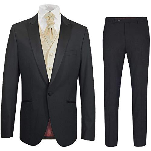 Paul Malone - Hochzeitsanzug Herren Set 6tlg schwarz Slim FIT inkl. Hochzeitsweste Creme Paisley 64