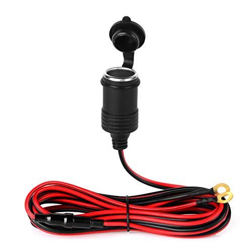 Buwei 12VCar Cable de extensión de Toma de Corriente para Encendedor con Terminal de Ojal Terminal de Anillo o
