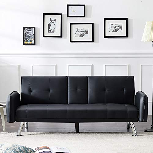 Merax Mini Futon Bed Couch, Modern Sofa Sleeper Design for Living Room or Bedroom, Including Metal Legs and Upholstery Sofabed, 74.8', Black
