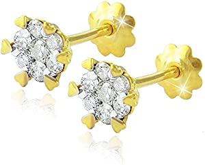 Vera Perla 18K Solid Gold 0.22 Ct. Diamond Hearts Solitaire Stud Earrings