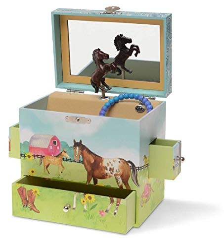 Jewelkeeper Musical Jewelry Box 3 Drawers, Horse and Barn Design, Home on The Range Tune