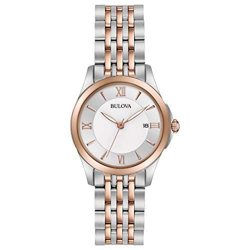 Bulova Women's Analog-Quartz Watch with Stainless-Steel Strap, Multi, 14 (Model: 98M125)