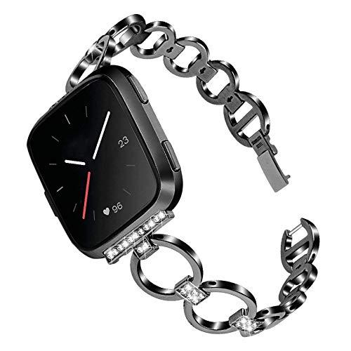 XIALEY Correa De Muñeca Compatible con Fitbit Versa 2 / Fitbit Versa/Fitbit Versa Lite, Accesorios De Pulsera Deportiva De Metal De Repuesto De Acero Inoxidable para Mujeres Niñas,Negro