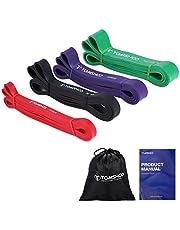 TOMSHOO weerstandsbanden korte set, 4 sets fitnessbanden, gymnastiekband, fitnessband kort, weerstandsbanden gemaakt van natuurlijke latex voor Pilates Yoga spieropbouw