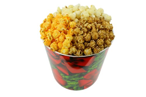 Review Signature Popcorn, 1-Gallon Holidays Red Bow Reusable Plastic Tin - Butter, Caramel and Chedd...