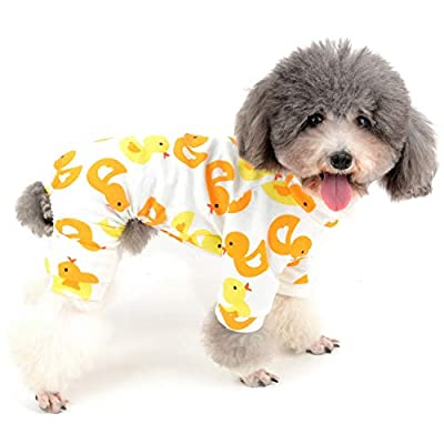 Zunea Small Dog Jumpsuit Overalls Pyjamas Soft Cotton Rompers Puppy Sleeping Clothes Adorable Yellow Duck Printed Four Legs Pjs Apparel for Pet Cats Pups S