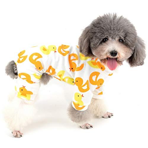 Zunea - Tuta per cani di piccola taglia, in cotone, motivo papere, copre le quattro zampe, unisex, per cani, gatti altri piccoli animali domestici