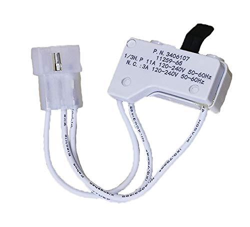 3406107 Dryer Door Switch Fits For AH346704, 3406105, AP3132865, 3405100, 3405101, 3406100, 3406101, 3406109, 528948 Dryer