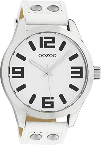 Oozoo Armbanduhr Basic Line mit Lederband 47 MM Weiß/Weiß C1050