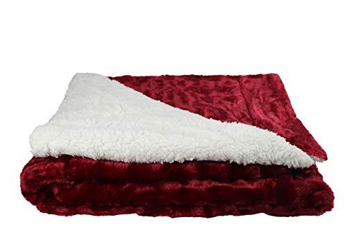 Desconocido Manta Borreguito para sofá, sillón y Cama 130x160 (Piel Sintética, Rojo)